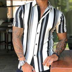 Ripped Denim, Striped Shorts, Mens Clothing Styles, Shirt Outfit, Workout Shirts, Sleeves, Men Shirts, Casual Shirts, Men's Fashion