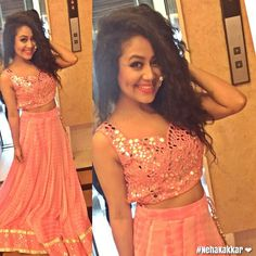 Neha Kakkar In Peach Lehenga Choli Plain Lehenga, Raw Silk Lehenga, Bollywood Lehenga, Lehenga Choli, Saree, Neha Kakkar Dresses, Mirror Work Blouse, Shadi Dresses, Western Gown