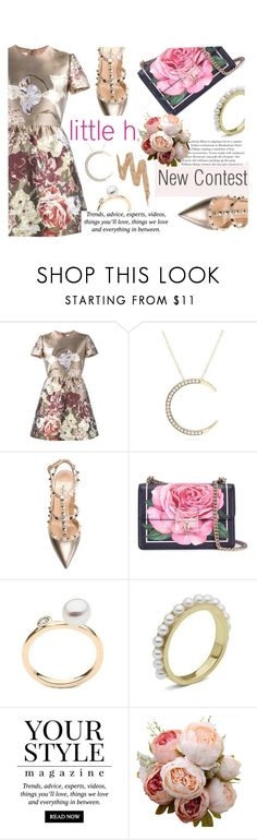"""LittleH Jewelry"" by wannanna ❤ liked on Polyvore featuring Valentino, Dolce&Gabbana, Pussycat, Urban Decay, Flowers, printeddress, pearljewelry and littlehjewelry"