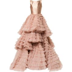 Isabel Sanchis layered flared gown ($11,910) ❤ liked on Polyvore featuring dresses, gowns, long dresses, flutter-sleeve dresses, layered ruffle dress, flounce dress and flouncy dress