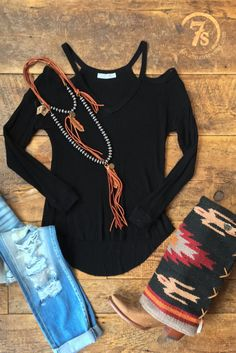 The Butte - Super comfy black cold shoulder. Shop now!