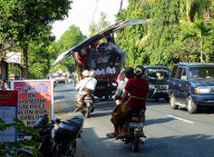 Large kites (layang-layang) on their way to the annual kite festival in Sanur 2014