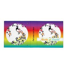 #Rainbow, black #peacock #wedding #planner #binders