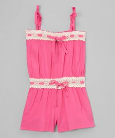 Look what I found on #zulily! Neon Hot Pink Crochet-Trim Romper - Toddler & Girls #zulilyfinds
