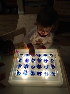 Light Table Project - egg carton sorter with blue and purple water beads