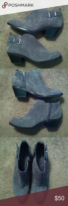 Grey booties Grey size 9 suede Sonoma booties, gently used, minor scuff near the bottom of the left heel Sonoma Shoes Ankle Boots & Booties