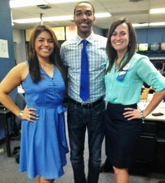 """Leslie Rangel, Justin Hinton, and Ashley Gaston wear """"blue"""" in support of child abuse prevention month."""