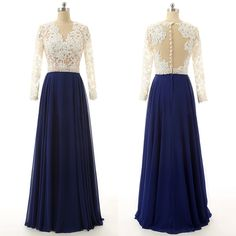 Lace Prom Dresses with Pearl Beaded Belt, Navy Blue A-line Chiffon Evening Dresses, Modest Long Sleeve Tulle Prom Dresses, #020102104