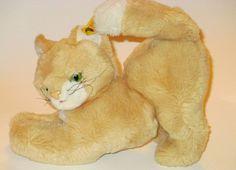 Vtg Steiff Cosy Milla Cat Kitten Kitty Ear Tag Green Eyes Plush Stuffed Animal  #Steiff