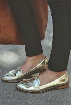 Metallic loafers. Must have! Now!