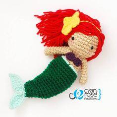 Ariel Inspired Crochet Amigurumi Plush Doll  by CyanRoseCreations, $36.00
