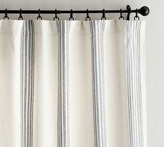 """96"""" curtain panel option Riviera Stripe Drape #potterybarn"""