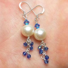 Natural Pearl and Sterling Silver Dangle Earrings  by JBellsGems