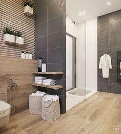 salle de bain moderne en bois et blanc | Décoration | Pinterest