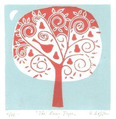Pear Tree Lino Print - Limited Edition Mounted Linocut by Giuliana Lazzerini £32.00