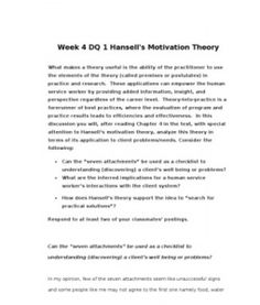 hansell s seven motivational theory Week 4 dq 1 hansell's motivation theory what makes a theory useful is the ability of the practitioner to use the elements of the theory (called premises or postulates) in practice and.