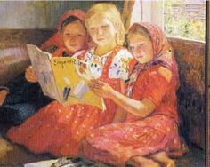 Reading Girls - Nikolay Bogdanov-Belsky