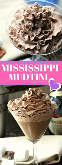 MISSISSIPPI MUDTINI COCKTAIL RECIPE - a simple chocolate martini with marshmallow vodka, Godiva chocolate liqueur, and Nocello! SnappyGourmet.com #Cocktail #Martini #Chocolate #SnappyGourmet #Dessert