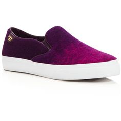 Tory Burch Slip On Sneakers - Rudi Wool (258355 IQD) ❤ liked on Polyvore featuring shoes, sneakers, tory burch, pull on shoes, slipon shoes, tory burch footwear and round toe shoes