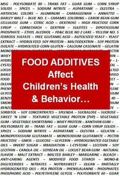 Food Additives Affect Children's Health & Behavior. And we wonder what the cause of the autism and ADHD epidemics is...?