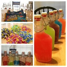 Jolly rancher vodka.  Vodka + about twelve-fifteen jolly ranchers. Let the candy dissolve. Shake. Cool. Drink. Drunk. :)