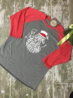 Christmas tee, snowman, wonderland tee shirt, raglan, vinyl printed shirts JeebDesigns@gmail.com in Fishers, Indiana Printed Shirts, Tee Shirts, Tees, Fishers Indiana, Christmas Trends, Shirt Ideas, Costumes For Women, Snowman, Thanksgiving