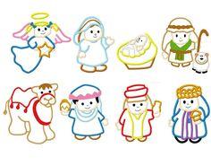 nativity scene wisemen baby jesus mary joseph camel and more set of 8 embroidery applique designs. $17.00, via Etsy.