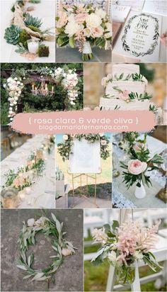 Decoração de Casamento : Paleta de Cores Rosa Claro e Verde Oliva