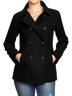 Ladies Black Pea Coat - Coat Nj