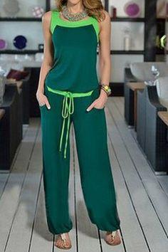 Stylish Scoop Neck Color Block Tank Top and Drawstring Chiffon Pants Suit For WomenPants | RoseGal.com