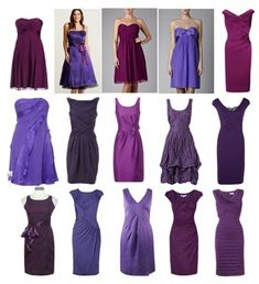 Exactly what I'm looking for! Purple jewel tone mismatched bridesmaid dresses!