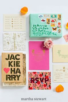 How cool were these Shindig Bespoke wedding invitations? The eclectic mix of colors and prints came in light-green boxes. #weddingideas #wedding #marthstewartwedding #weddingplanning #weddingchecklist Wedding Stationery Trends, Acrylic Wedding Invitations, Bespoke Wedding Invitations, Destination Wedding Invitations, Wedding Planning, Wedding Trends, Eclectic Wedding, Geometric Wedding, Wedding Boxes