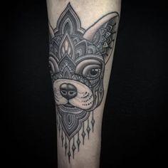 French bulldog mandala tattoo