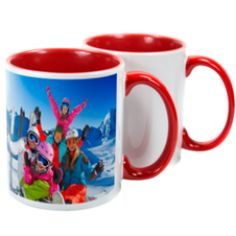 With a high gloss finish, ceramic mugs are a great way of personalising with an image or logo. Two Tone Mugs are available in different interior colours - red, blue, green, yellow & pink. Screen Printing Supplies, Sublimation Mugs, Personalized Mugs, Ceramic Mugs, Colorful Interiors, Colours, Prints, Red, Personalized Cups
