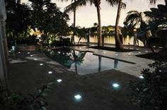 Cobble lights brighten up a pool area