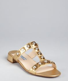 c756addda2a Prada  gold crosshatched leather crystal embellished t-strap sandals Gold  Sandals