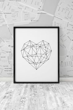 Lovely Printable Art Inspirational Prints Love Heart Geometric Home Decor Poster Polygon Art Wall Decor Black & White Summer Trends INSTANT ART The post Printable Art Inspirational Prints Lo . B&w Tumblr, Reproductions Murales, Geometric Deer, Geometric Artwork, Art Minimaliste, Black And White Artwork, Black White, Polygon Art, Wall Drawing