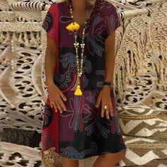 Women Summer Short Sleeve Cotton Linen Dress Vestido Robe Kaftan Femme Vintage V Neck Floral Printed Party Sundress Color Dark Grey Size S Casual Mini Dress, Cotton Linen, Printed Cotton, Stylish Dresses, Casual Dresses, Short Sleeve Dresses, Dresses With Sleeves, Short Sleeves, Dress Robes
