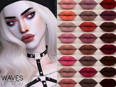 Waves Lipcream by Praline Sims for The Sims 4 Sims 4 Cas, My Sims, Sims Cc, Sims 4 Mods Clothes, Sims 4 Clothing, The Sims 4 Skin, Sims 4 Cc Eyes, Sims 4 Game Mods, Sims 4 Cc Makeup