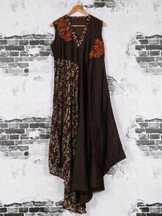 Shop Printed brown silk kurti online from G3fashion India. Brand - G3, Product code - G3-WKU0443, Price - 3990, Color - Brown, Fabric - Silk,