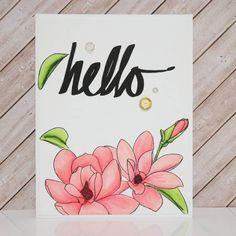 """좋아요 115개, 댓글 18개 - Instagram의 Marge(@marge.crafts)님: """"Second card using altenew's new markers ! 😊❤. I stamped magnolia & super script stamps from altenew…"""""""