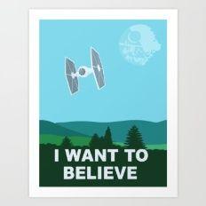 Art Print featuring I WANT TO BELIEVE - Star Wars by John Medbury (LAZY J Studios)