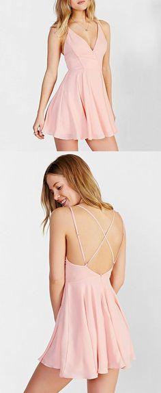 Lovely Pink V Neck Homecoming Dress,Short Open Back Party Dress,Skater Dresses #homecomingdresses