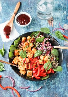 BBQ Hawaiian Tofu Bowl from The Simply Vegan Cookbook. Super easy and ready in just 30 minutes, this vegan bowl makes the perfect vegetarian weeknight meal. Customize it with your favorite vegetables and your favorite barbecue sauce. A delicious vegan lunch or dinner!