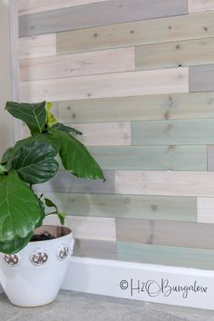 cedar tongue and groove DIY multi colored wood plank wall in a coastal home - DIY Multi Colored Wood Plank Wall - Cedar Tongue And Groove, Tongue And Groove Walls, Wood Plank Walls, Wood Planks, Wall Wood, Planked Walls, Colorful Kitchen Decor, Kitchen Colors, Coastal Decor