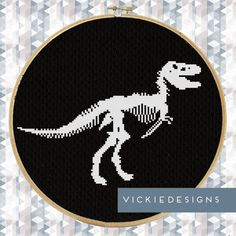 Fossil Dinosaur T-Rex Modern Cross Stitch Pattern by VickieDesigns