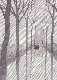 A mood created with lines: Artes plásticas: Pierre Le-Tan Gravure Illustration, Art Et Illustration, Sketch Note, Kunst Poster, Art Plastique, Art Inspo, Line Art, Illustrations Posters, Illustrators
