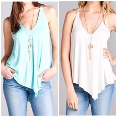 """LASTMint Jersey Knit Tank Asymmetrical hem tank made of rayon/spandex blend. This listing is for MINT. No Trades. Price Firm   Measurements laying flat Small Pit to pit 17"""" length 27""""  Medium  Pit to pit 18"""" length 28""""  Large  Pit to pit 19"""" length 29"""" Bchic Tops Tank Tops"""