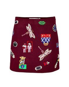 Mary Katrantzou Embellished wool skirt