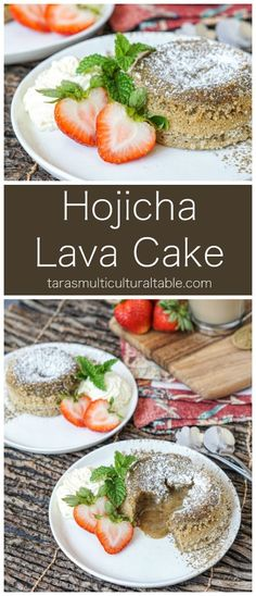 Hojicha Lava Cake - Tara's Multicultural Table #recipe #hojicha #tea #lavacake #cake #dessert